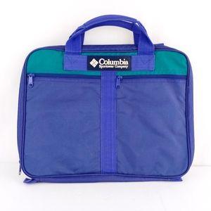 Vintage Blue Nylon Neon Pink & Yellow Travel Bag